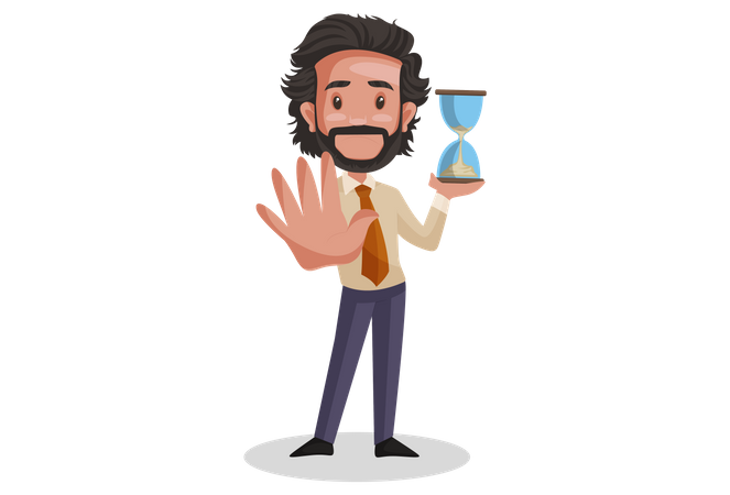 Indian Investment Advisor holding hourglass Illustration