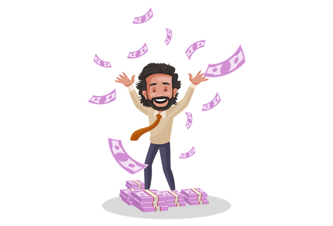 Indian Investment Advisor throwing money in air Illustration