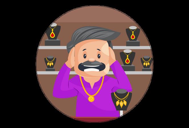 Indian Jeweler Is Shocked Illustration