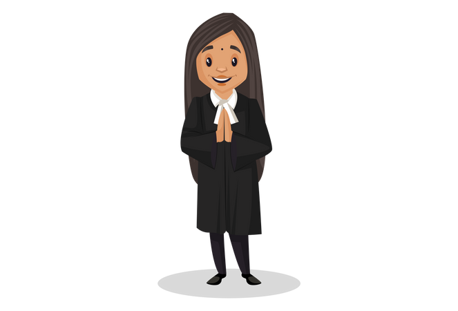 Indian Judge standing in welcome pose Illustration