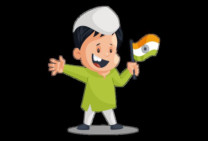 Indian kid Celebrating Independence Day with holding Indian flag Illustration