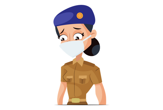 Indian Lady Police wearing Face Mask Illustration