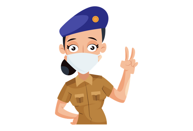 Indian Lady Police wearing face mask with victory hand gesture Illustration