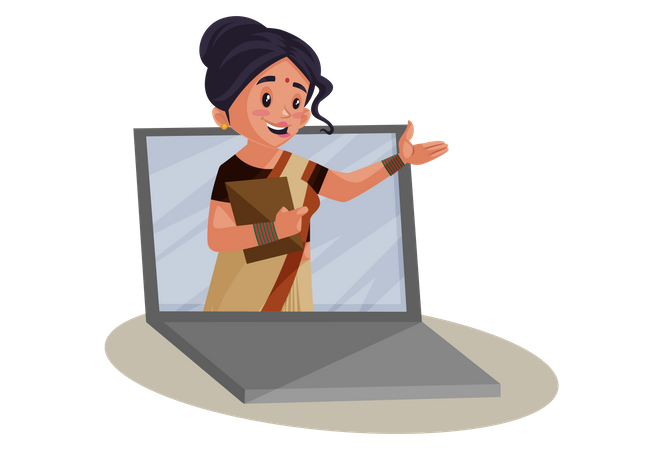 Indian Lady teacher Giving online Education Illustration
