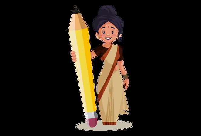 Indian Lady teacher holding Big Pencil Illustration