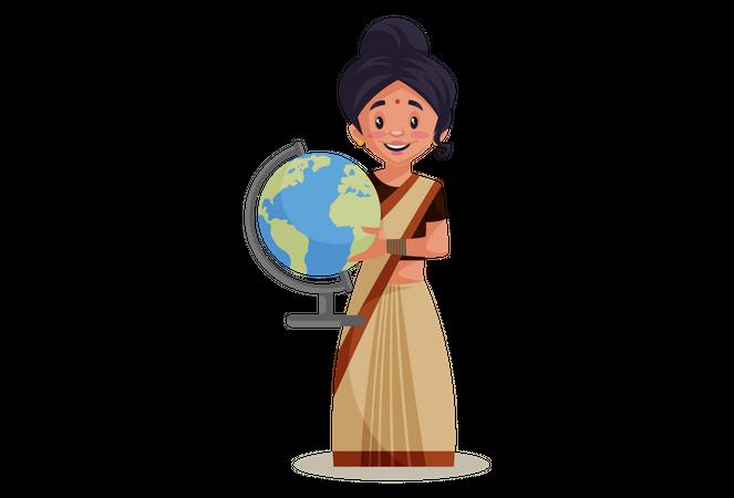 Indian Lady teacher holding educational globe Illustration