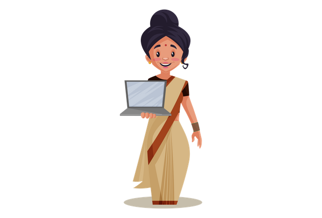 Indian Lady teacher holding Laptop as online Education Illustration