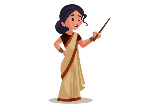 Indian Lady teacher holding Stick Illustration