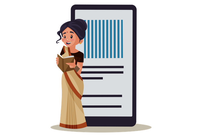 Indian Lady teacher teaching from E-Book Illustration