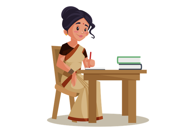 Indian Lady teacher working on desk with books Illustration