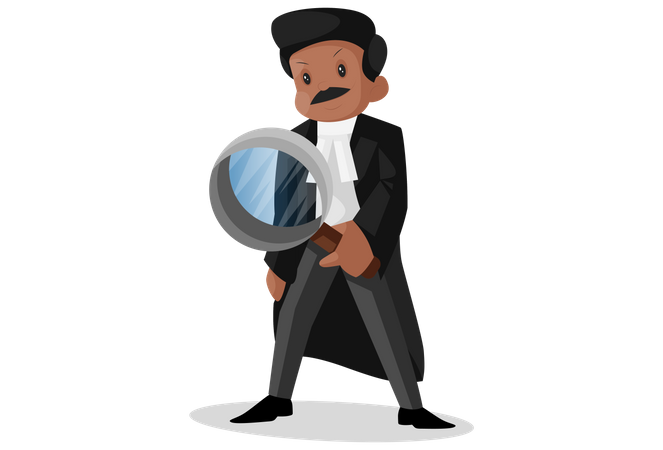 Indian lawyer investigating a case with magnifying glass Illustration