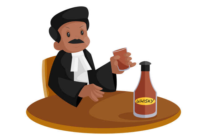 Indian lawyer is holding glass in hand and drinking whiskey Illustration