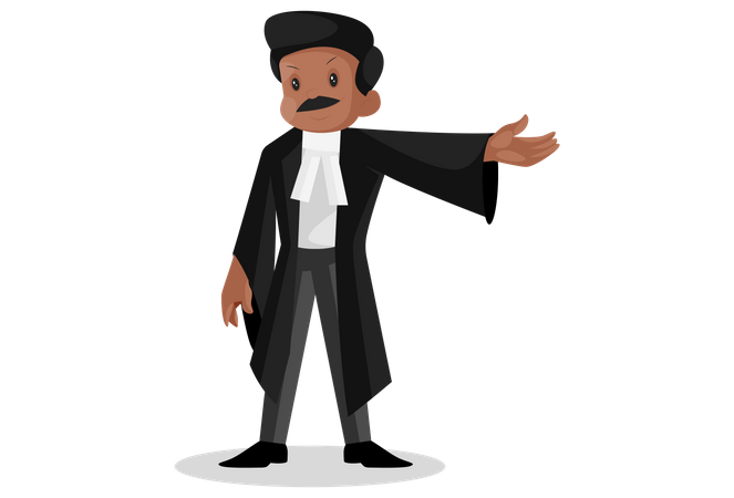 Indian lawyer pointing with his hand Illustration