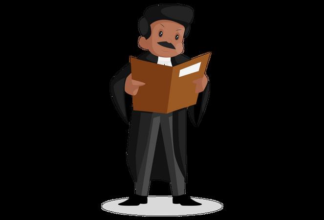 Indian lawyer reading case file Illustration