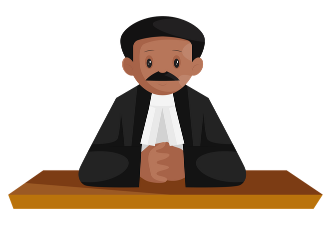 Indian lawyer seating on table Illustration