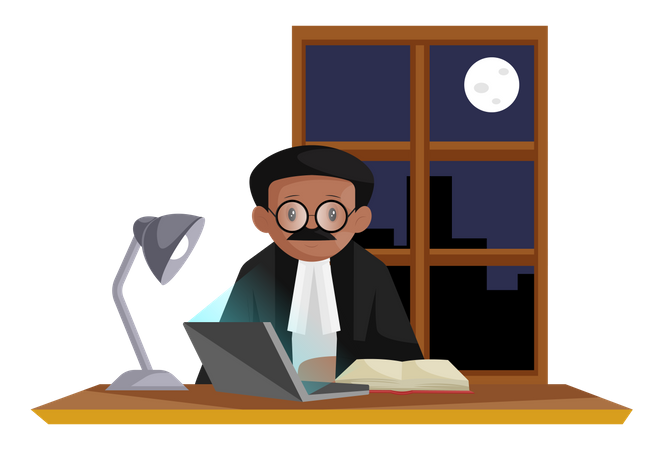 Indian lawyer wearing glasses doing research about case on laptop at night Illustration