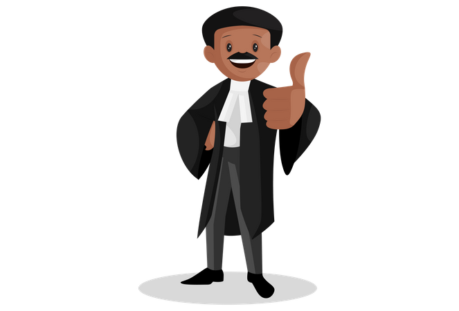 Indian lawyer with thumbs up sign Illustration
