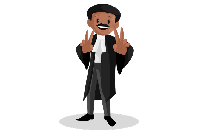 Indian lawyer with victory sign with both hands Illustration