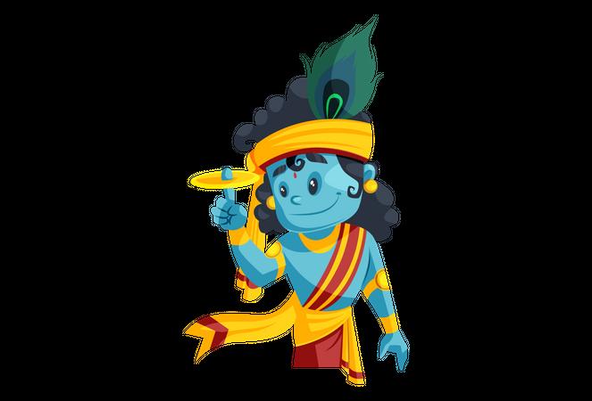 Indian Lord Krishna with Sudarshana Chakra Illustration