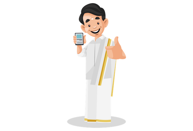 Indian Malayali man holding mobile phone in hand and showing thumbs-up Illustration
