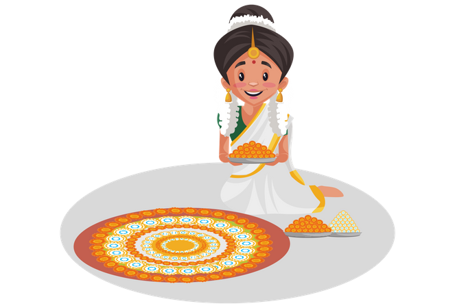 Indian Malayali woman decorating the floor with flowers Illustration