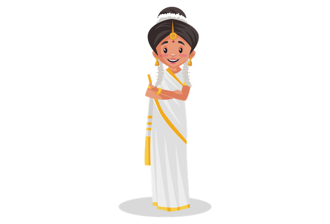 Indian Malayali woman is smiling Illustration