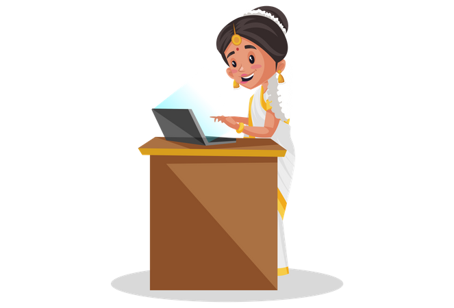 Indian Malayali woman working on laptop Illustration