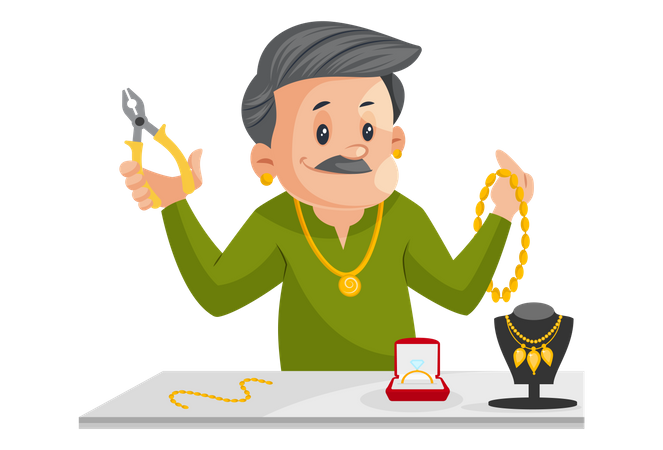 Indian Male Jeweler Is Holding Cutter And Jewelry In Hand Illustration