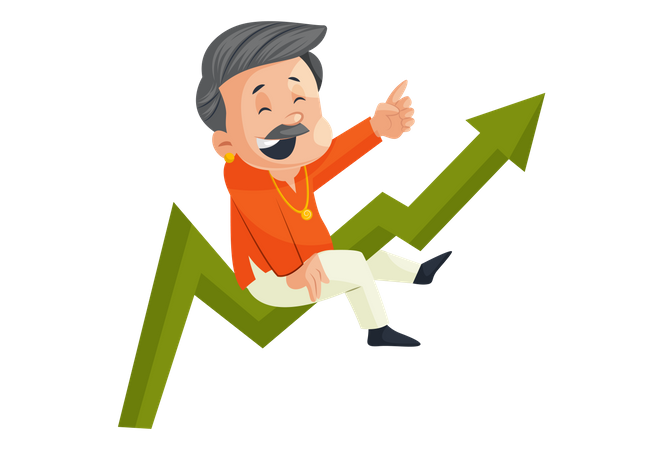 Indian Male Jeweler On Growth Graph Illustration