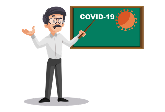 Indian Male Teacher showing covid-19 graph on board Illustration