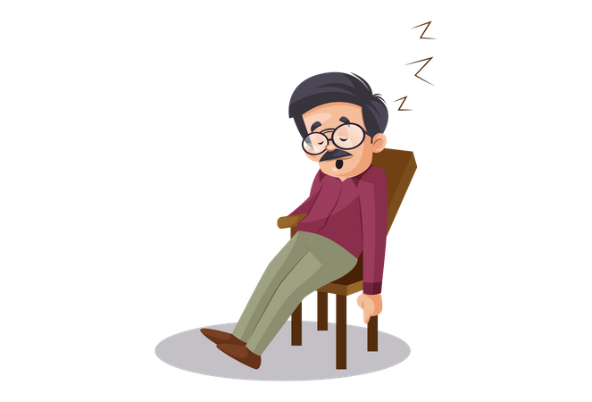 Indian Male Teacher sleeping on chair Illustration
