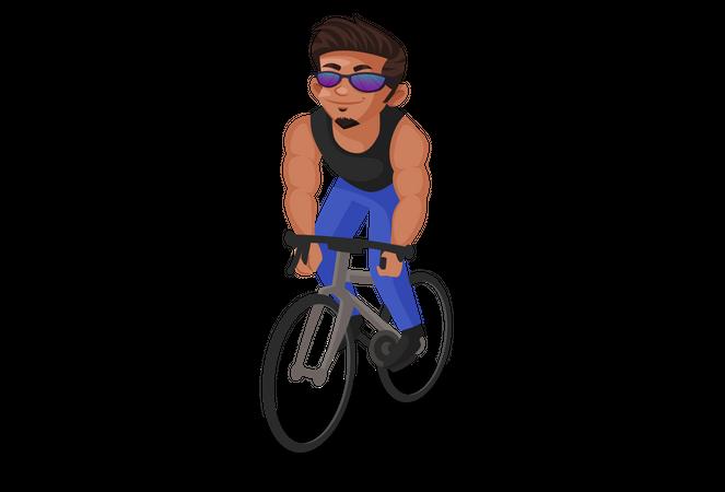 Indian man cycling Illustration