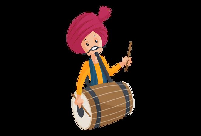 Indian Man Playing Drum on Navratri Illustration