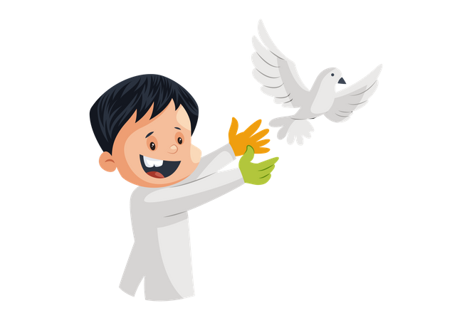 Indian man release white pigeon bird Illustration