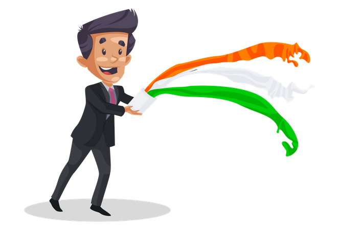 Indian man throwing paint with bucket Illustration