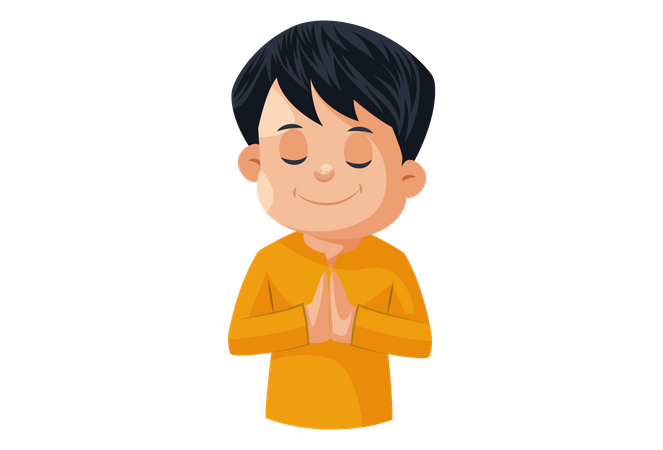 Indian Man Welcoming with Namaste Hand gesture Illustration