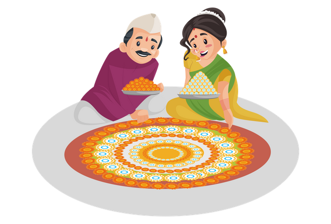 Indian Marathi couple is decorating the floor with flowers Illustration