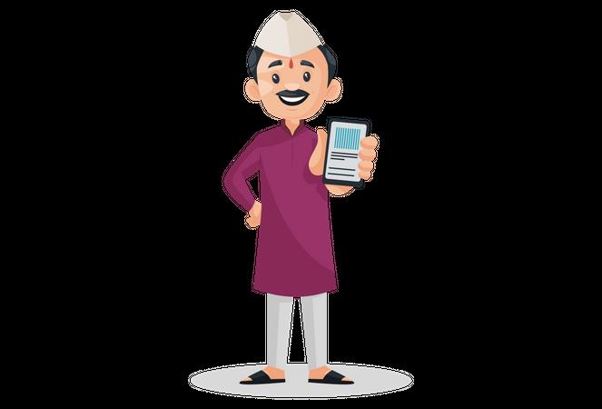 Indian Marathi man holding mobile in hand Illustration
