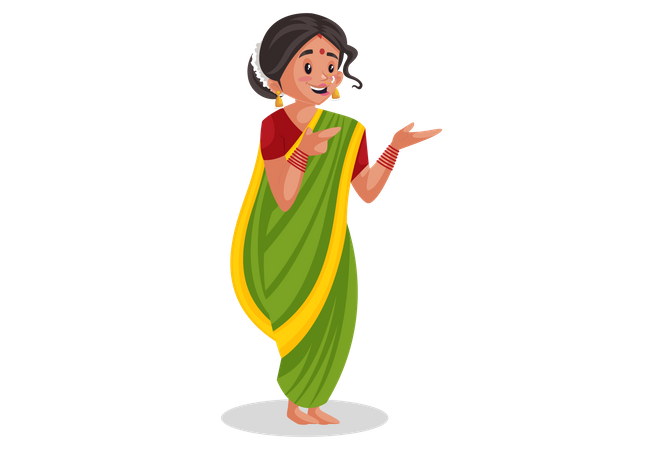 Indian Marathi woman doing hands expression Illustration