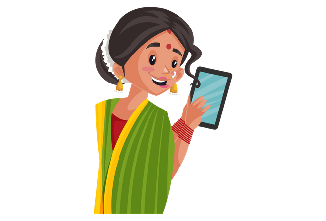 Indian Marathi woman holding Tablet in hand Illustration