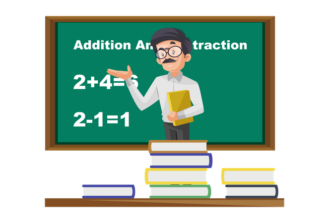 Indian Math Teacher teaching addition and subtraction on board Illustration