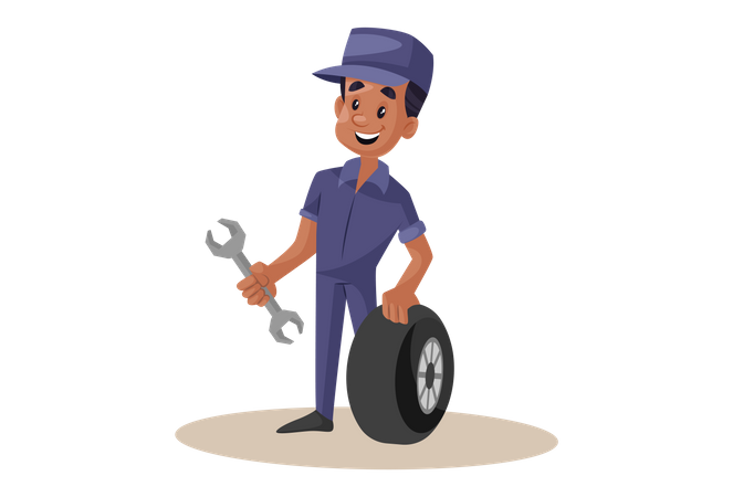 Indian Mechanic repairing wheel with wrench Illustration
