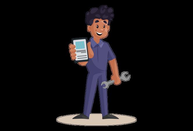 Indian Mechanic showing Smartphone for online app Illustration