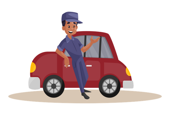 Indian Mechanic standing over repaired car Illustration