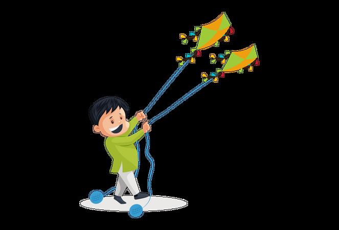 Indian men Flying kites on Independence Day Illustration