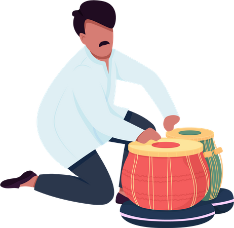 Indian musician play tabla drums Illustration