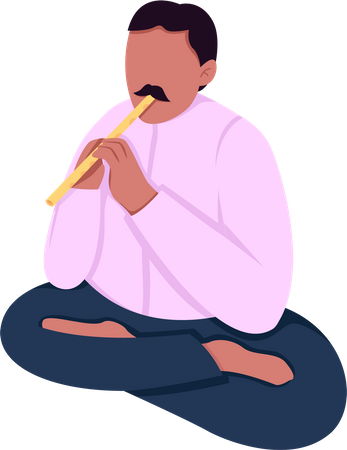 Indian musician playing flute Illustration