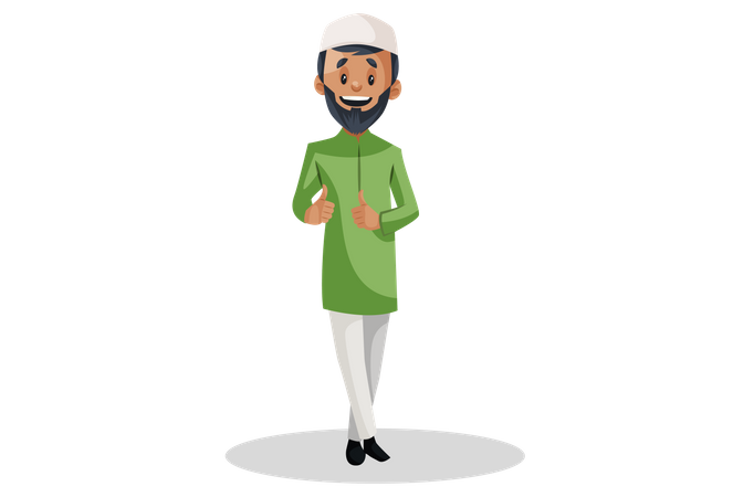Indian Muslim man is showing thumbs-up with both hands Illustration