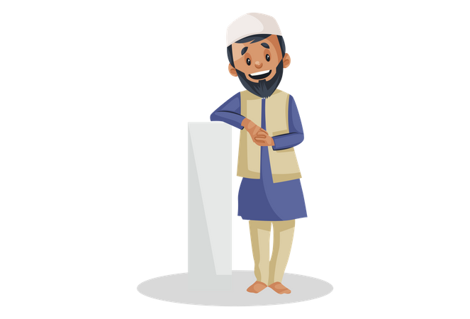 Indian Muslim man is standing with a pillar Illustration