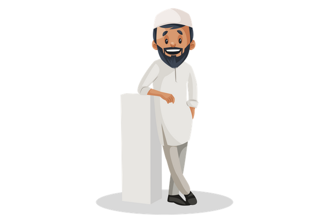Indian Muslim man smiling and standing with white pillar Illustration